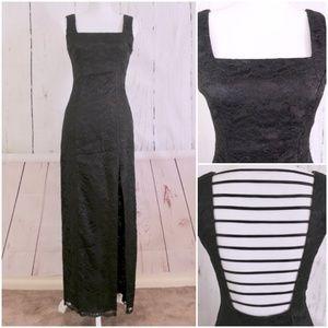 VTG 90s Black Lace Strappy Back Goth Maxi Dress 4